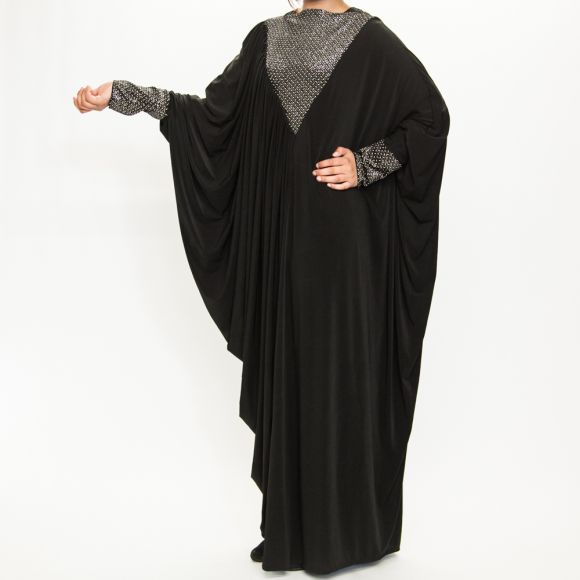 black color velvet butterfly abaya jilbab